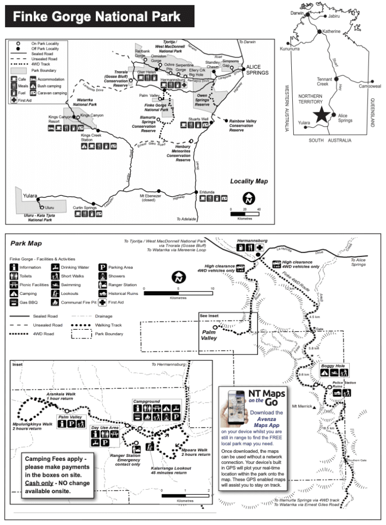 Finke River 4WD Track - Finke Gorge National Park map