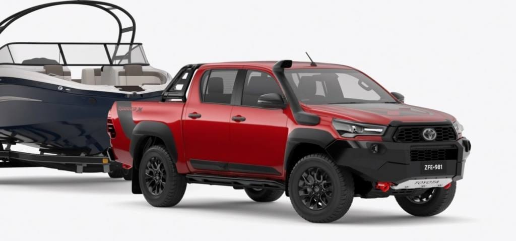 2020 Toyota HiLux Rogue towing a boat